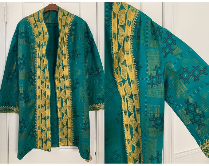 Vintage teal blue green embroidered cotton tunic jacket XL/2X, African fashion