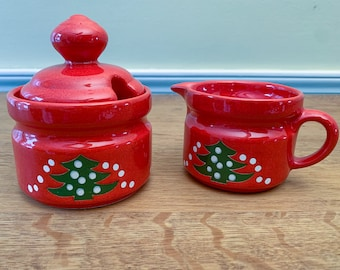 Vintage Waechtersbach sugar and creamer set with Christmas tree design, West German pottery, MCM holiday tableware