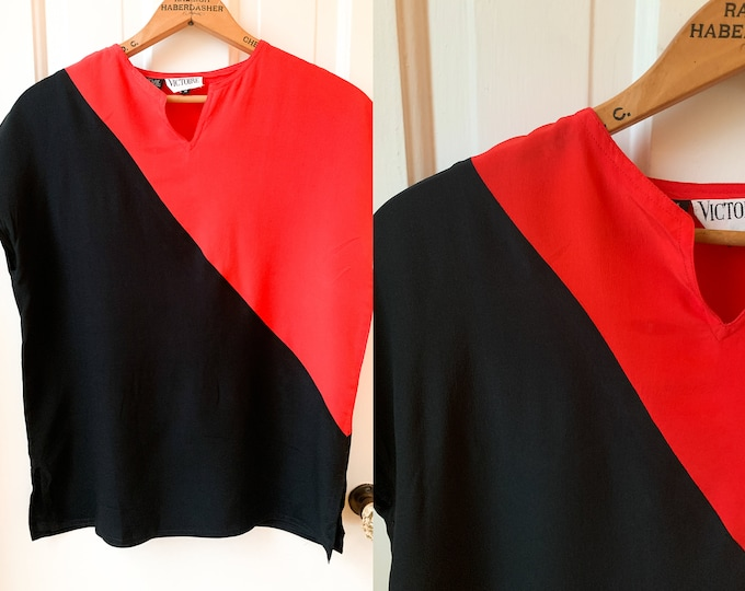 Vintage 70s red & black color blocked silk blouse or shell Sz M