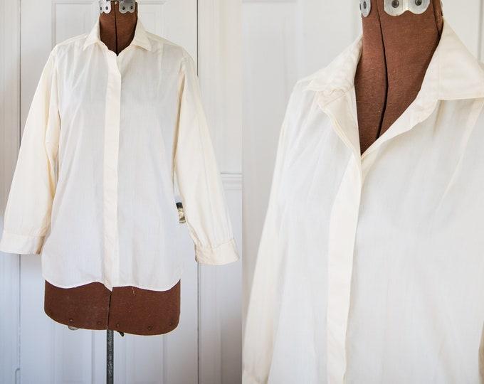 Vintage Sz L 50s 60s cream color cotton blouse with long sleeves, Ship 'n Shore