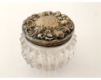 Small antique antique glass dresser jar with decorative sterling silver lid, Victorian powder jar