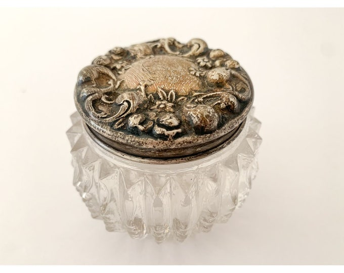 Small antique antique glass dresser jar with decorative sterling silver lid, Victorian powder jar