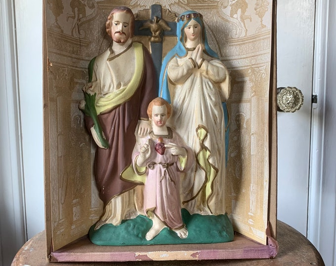 Vintage hand-painted holy family insert from a shadowbox wall alter | religious statues | Jesus Mary Joseph