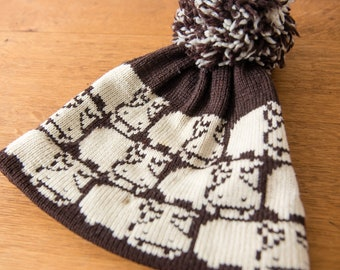 Vintage wool knit ski hat with hippo design and pompom by Deep Powder Designs, Sz S/M