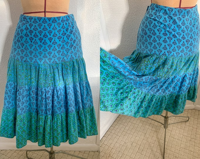 Vintage blue & green Indian print prairie skirt or peasant skirt, Boho fashion, Sz S/M