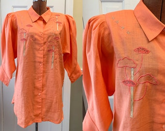 Vintage 1980s orange linen novelty blouse with mod appliqué and embroidered trees/flowers, made by Fidelio, made in Italy, Size L