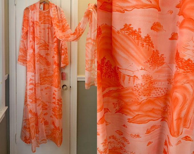 Vintage 1970s orange maxi dress with long attached scarf and asian print, made by Elsie Krassas Waikiki, Size S