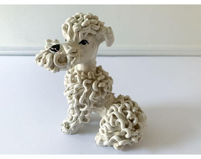 Vintage ceramic spaghetti sitting poodle figurine made in ITALY FLAWS