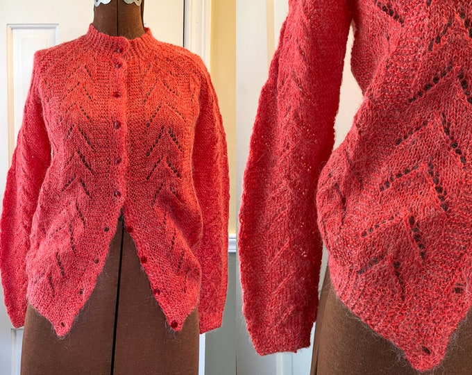 Vintage 1960s handmade orange/red mohair cardigan sweater with facetted buttons, hand-knit jumper, Size M