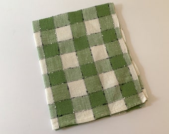 Vintage green and white check linen dish towel, kitchen towel or tea towel