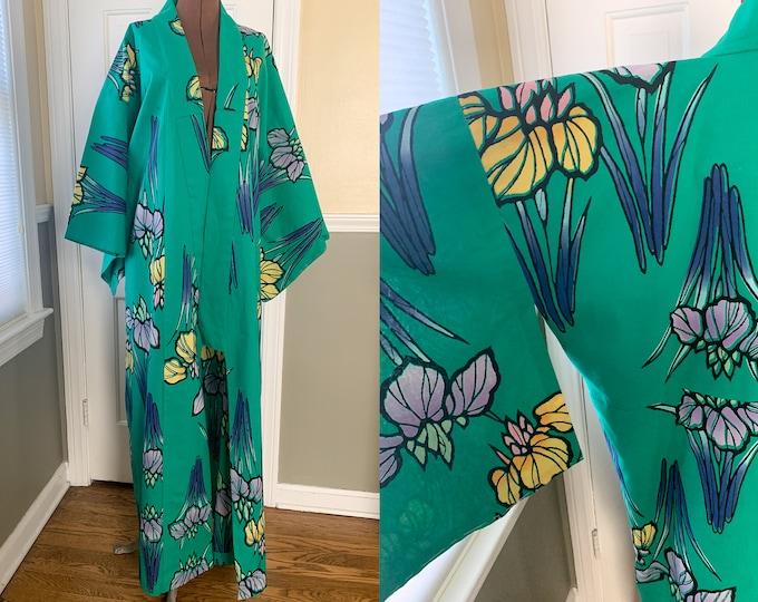 Vintage green Kimono with purple and yellow iris print, traditional Japanese kimono, Asian duster, Size L/XL