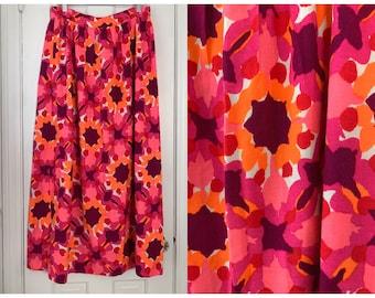 Vintage 1970s Vera orange, purple & pink mod print maxi skirt, Sz L
