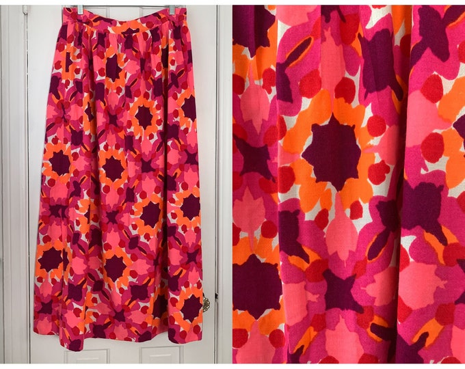 Vintage 1970s Vera orange, purple & pink mod print maxi skirt, Sz L