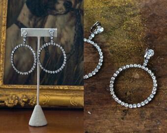 Vintage 1970s clip-on dangling hoop rhinestone earrings