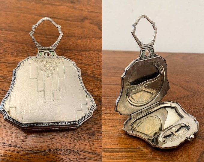Vintage 20s 30s Evans dance compact with finger ring holder, Art Deco powder rouge and mirror compact, silver Minaudiere