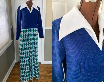 Vintage 1970s knit maxi dress with wide white collar and argyle print skirt | full length mod dress | NOS with hang tags | Size S