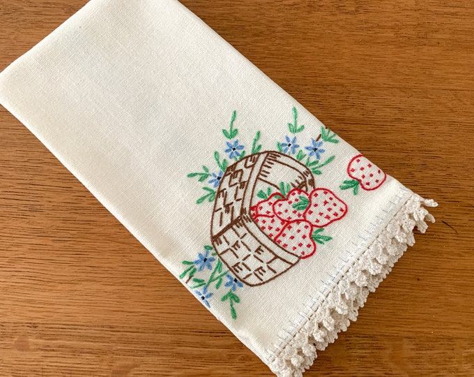 Vintage hand-embroidered strawberry linen kitchen towel or tea towel, mid century kitchen decor