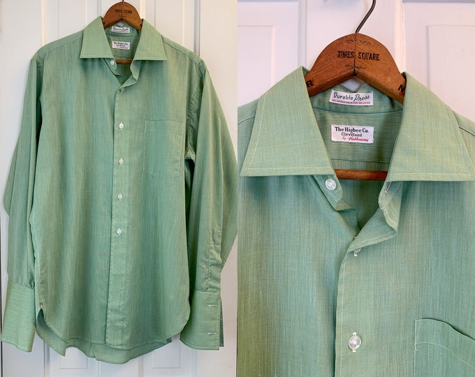 Vintage 60s/70s men's green French cuff dress shirt, cufflink shirt, men's career shirt, The Higbee Co. by Hathaway, Size L