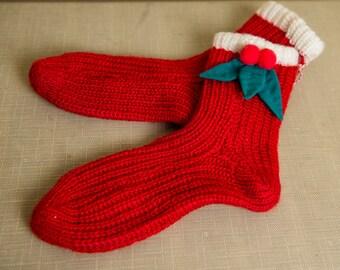 Women's warm knitted Christmas holiday holly berry slipper socks | Santa elf socks