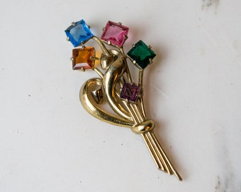 Large vintage 1940s Art Deco flower bouquet brooch statement pin with faceted chunky glass stones