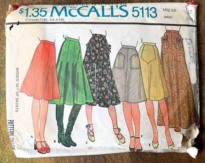 Vintage 1976 McCall's sewing pattern for set of misses skirts 5113 | Carefree Patterns from McCalls's | Size 12