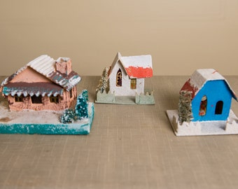 Collection of vintage 1950s miniature cardboard houses | Christmas decorations ornaments | Christmas light covers