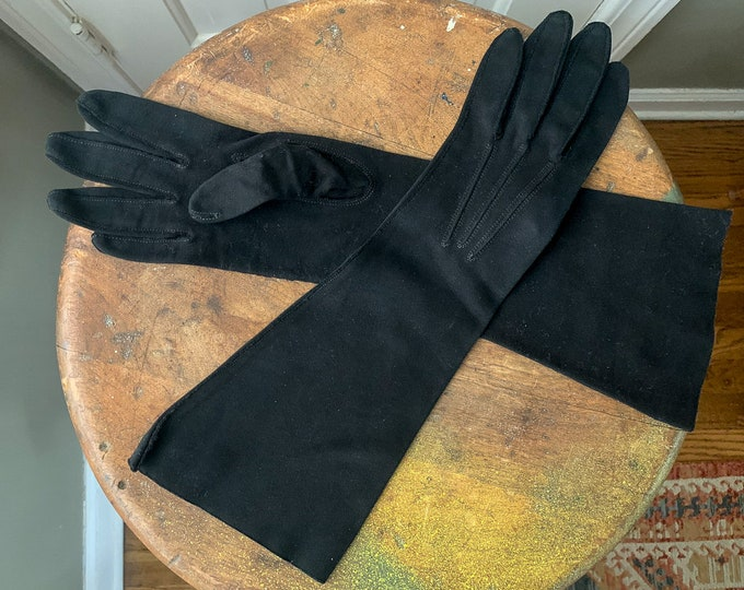 Vintage 1950s black formal dress gloves | Size S