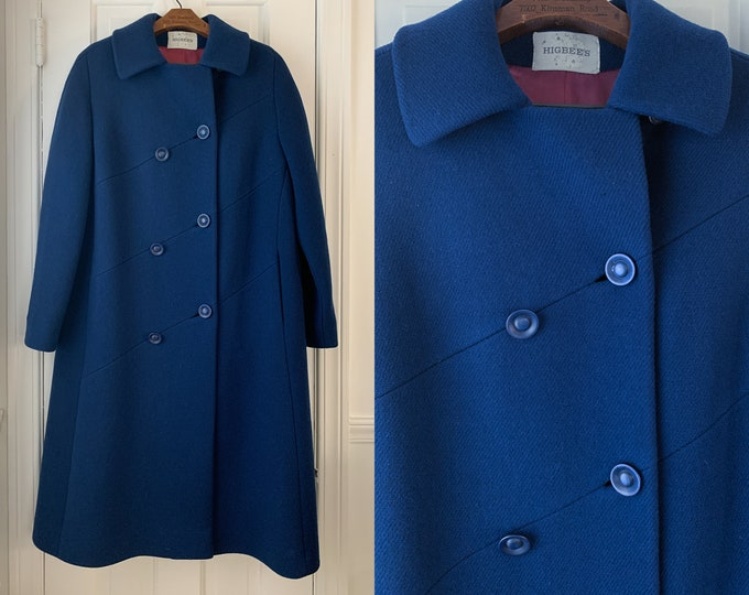 Vintage 60s Smithline navy blue winter coat, double breasted coat