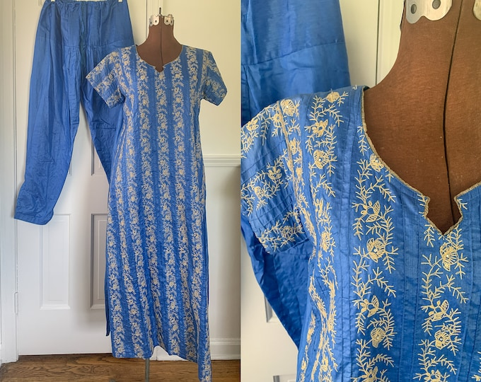 Vintage two piece blue tunic and harem pants with embroidery and rhinestone embellishments, traditional Indian fashion, size L