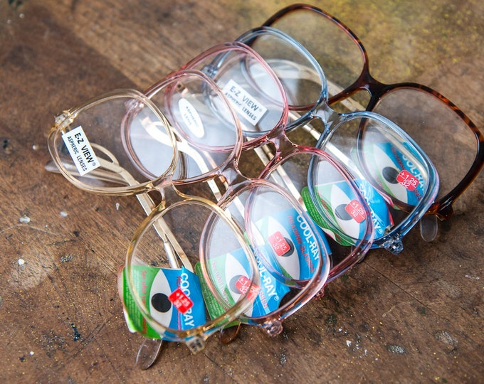 Vintage NOS 1970s Cool-Ray +1.25 32 power reading glasses in pastel colors, large Aspheric lenses and off-set gold arms