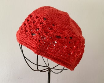 Vintage 1960s crocheted red beanie hat, boho fashion hat, red skull cap