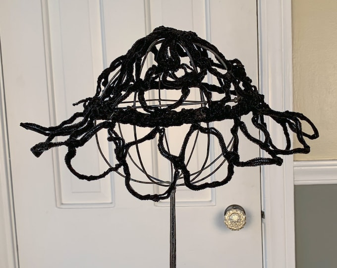 Unique vintage black structural open weave hat | black pillbox hat | high fashion hat | Size S - L