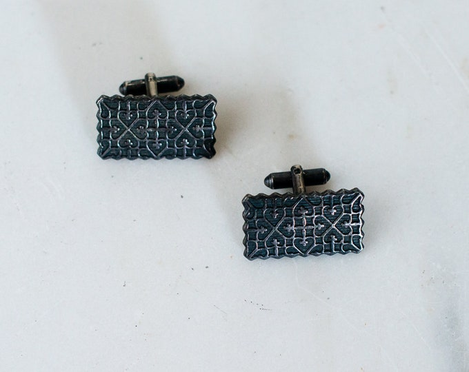 Vintage pewter rectangular cufflinks with geometric gothic hearts and crosses pattern