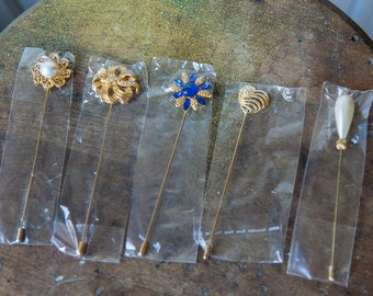 Lot of 10 gold tone pearl rhinestone hat lapel stick pins with pin cap | new old stock