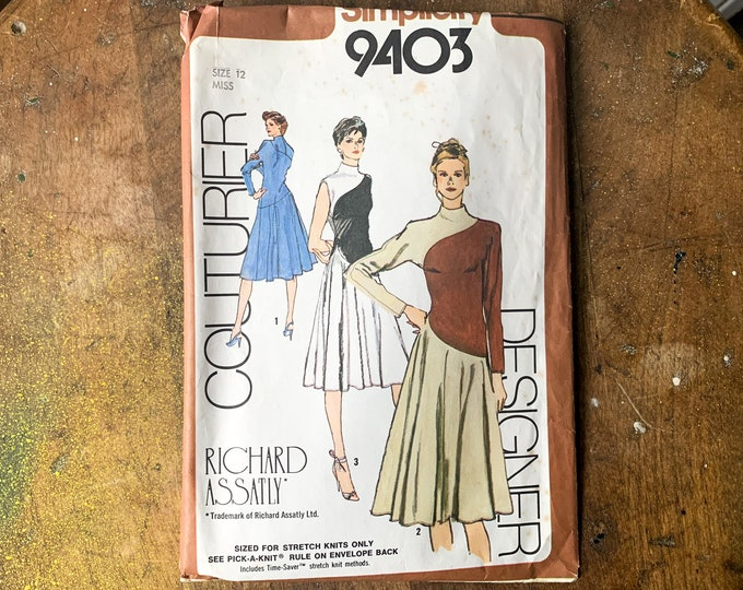Vintage 1980 Simplicity sewing pattern for Richard Assatly knit misses dress with mock turtle neck 9403 | Couturier Designer | Size 12