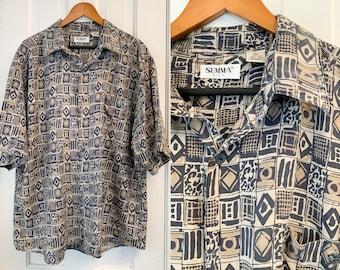 Vintage silk men's short sleeve button down shirt in black and brown mod tribal print, Summa Silk, Size XL