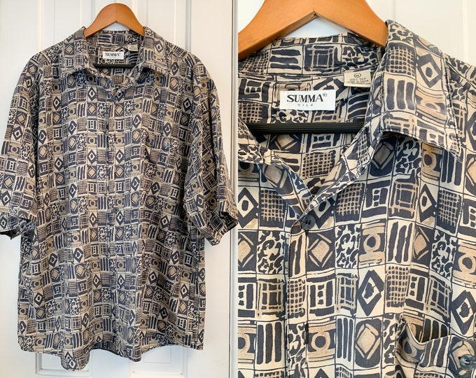 Vintage silk men's short sleeve button down shirt in black and brown mod tribal print, Summa Silk, Size XL