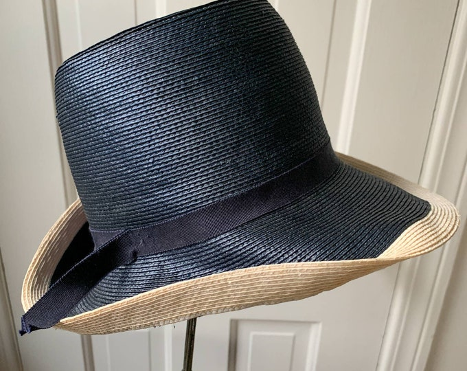 Vintage 80s Adolfo II brimmed hat navy blue and cream Sz S
