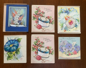 Vintage lot of 13 ornate unused 1950s greeting cards & envelops - birthday, anniversary, congrats, get well | crafting paper | ephemera