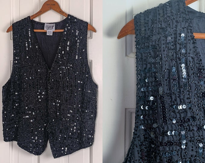 Vintage 1980s black sequin and beaded silk vest | festive holiday vest | glittery costume vest | Size M
