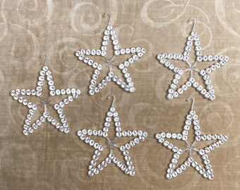 Vintage collection of 5 plastic star Christmas ornaments | kitschy Christmas ornaments | Christmas crafting materials