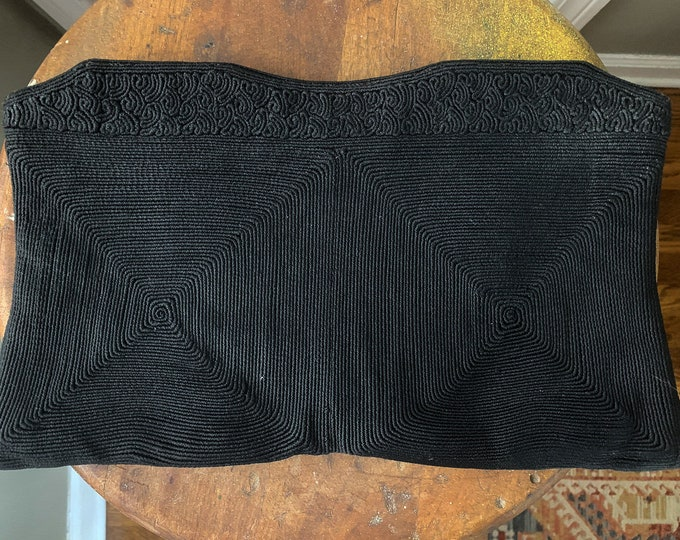 "Vintage 1940s black Corde clutch purse in scroll and geometric pattern | 8"" x 12.5"""
