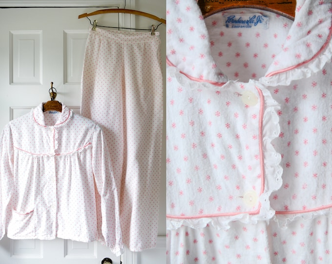 Vintage 50s pink snowflake flannel pajamas with high waisted wide legged bottoms, Barbara Lee Jr., Sz XS