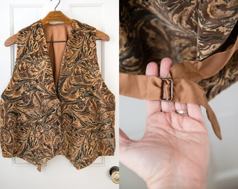 Vintage brown abstract print velvet vest with glass buttons, handmade, Sz XXL