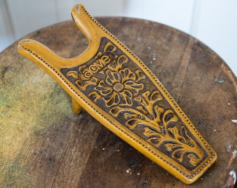 """Vintage Acme Boot Jack in tooled leather """"look"""" 