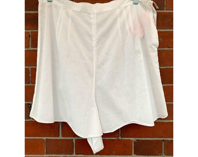 VTG 50s white cotton tap pants, vintage undergarments, vintage panties Sz L