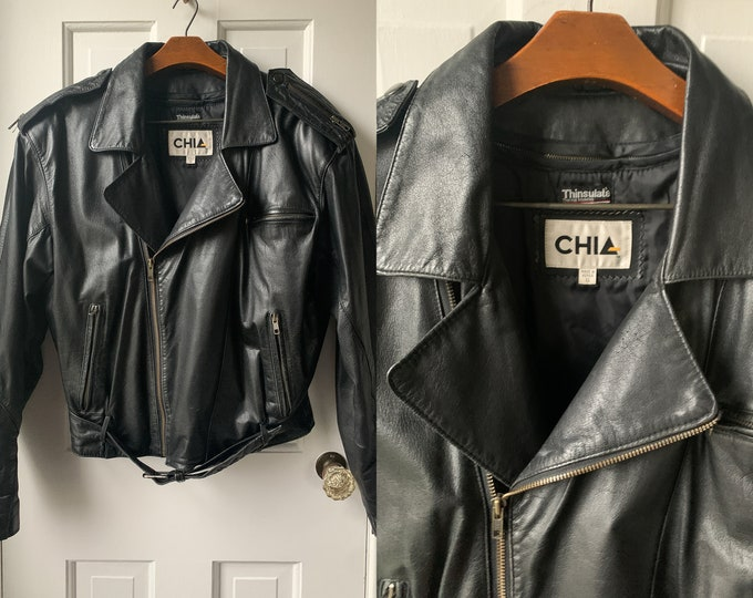 Chia black leather motorcycle jacket with zip out lining, biker jacket, moto jacket, Size S