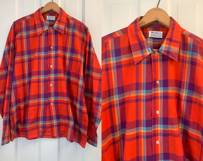 Vintage 60s men's red & blue plaid button down shirt, casual cotton long sleeve shirt, made by Westley, Size L