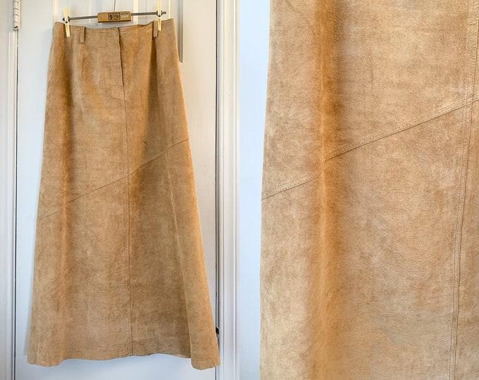 Vintage light brown or camel color suede midi length skirt, made by Margaret Godfrey, Size L
