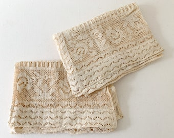 Vintage pair of off-white lace curtains with basket weave and floral pattern, farmhouse decor